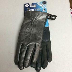 isotoner Accessories - Isotoner Signature Sleek Heat Leather Nylon Gloves